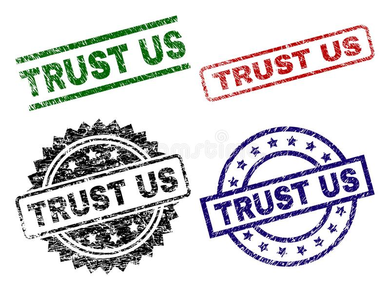 Grunge Textured TRUST US Seal Stamps vector illustration
