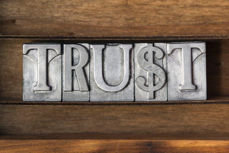Trust word tray royalty free stock photo