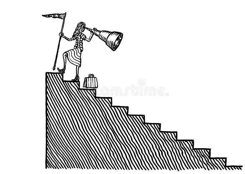 Trustad affärskvinna som ser tillbaka från målet vektor illustrationer