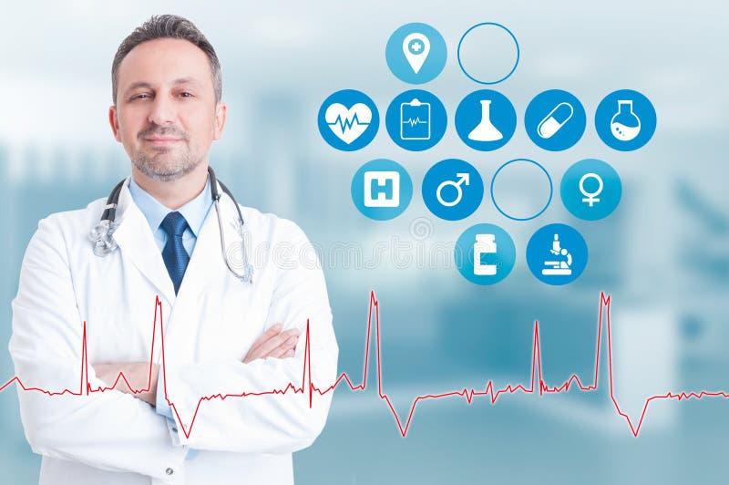 Trusthworthy student medycyny z zdrowia podaniowy pobliskim on na wirtualnym i fotografia stock