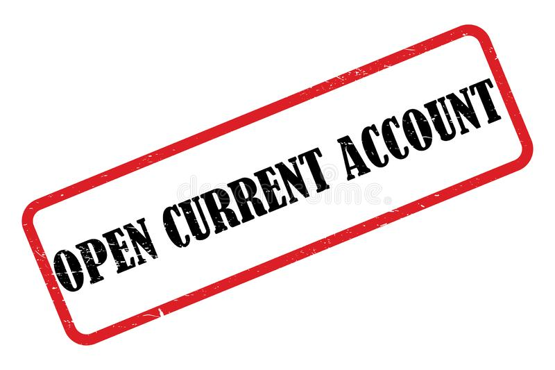 Open current account heading. On white background stock illustration