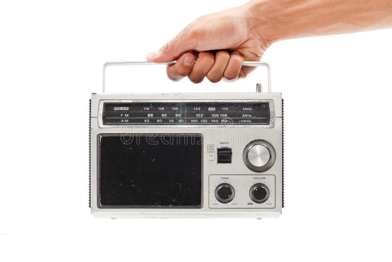 Trusty AM/FM Radio. In Male Hand stock photo
