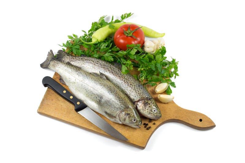 Truta fresca na placa de madeira com salsa, alho, tomate, pimenta e faca imagens de stock