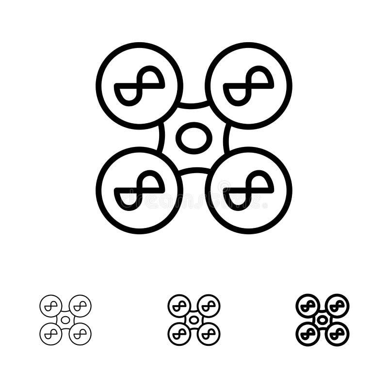 Truteń, copter, technologia czerni linii ikony set, komarnicy, kwadrata, Śmiały i cienki ilustracji