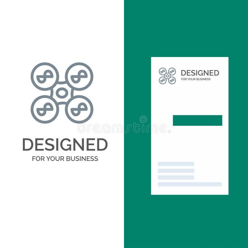 Truteń, copter, technologia logo Popielaty projekt i wizytówka szablon, komarnicy, kwadrata, ilustracji