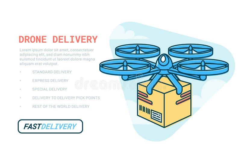 Truteń doręczeniowa usługa Pilota lotniczy truteń z drobnicowym sieć szablonem Nowożytna dostawa pakunek latania quadcopter ilustracji