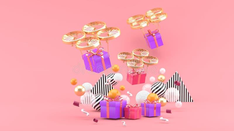 Truteń dostarcza prezenta pudełko wśród kolorowych piłek na różowym tle royalty ilustracja