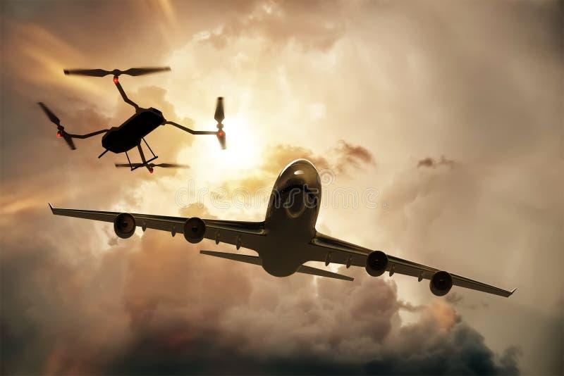 Truteń lata blisko handlowego samolotu, niebezpieczeństwo karambol royalty ilustracja
