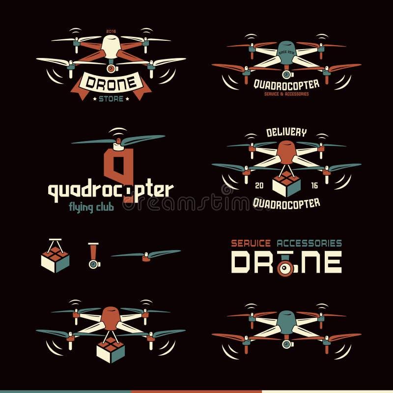 Truteń lub quadrocopter ustawiający wektorowe odznaki ilustracji