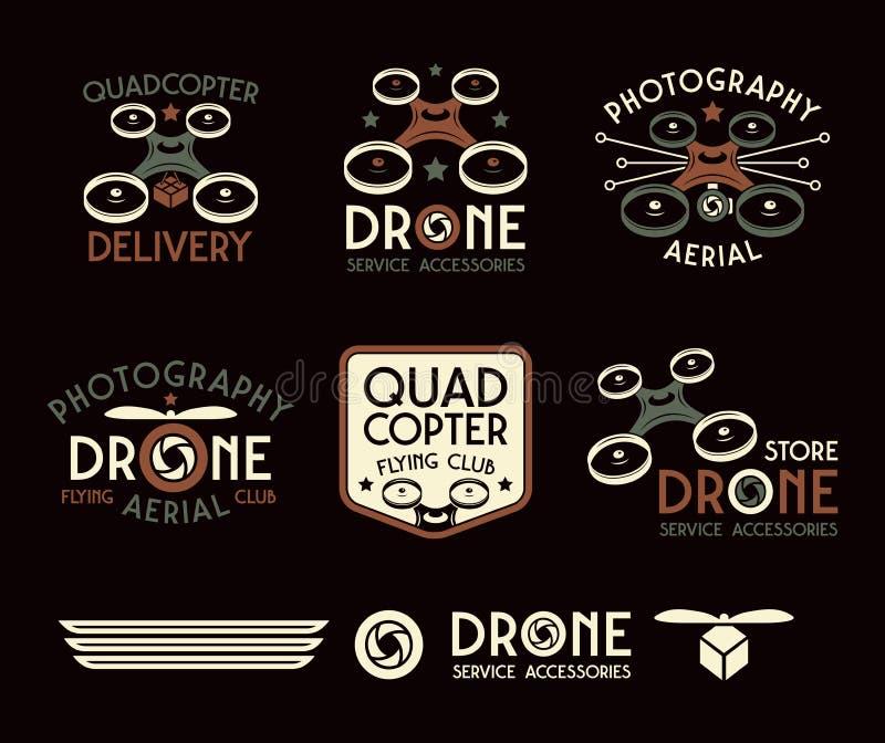 Truteń lub quadrocopter ustawiający wektorowe odznaki ilustracja wektor