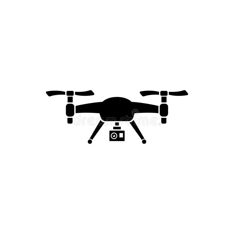 Truteń Quadrocopter z akci kamery Płaską Wektorową ikoną royalty ilustracja