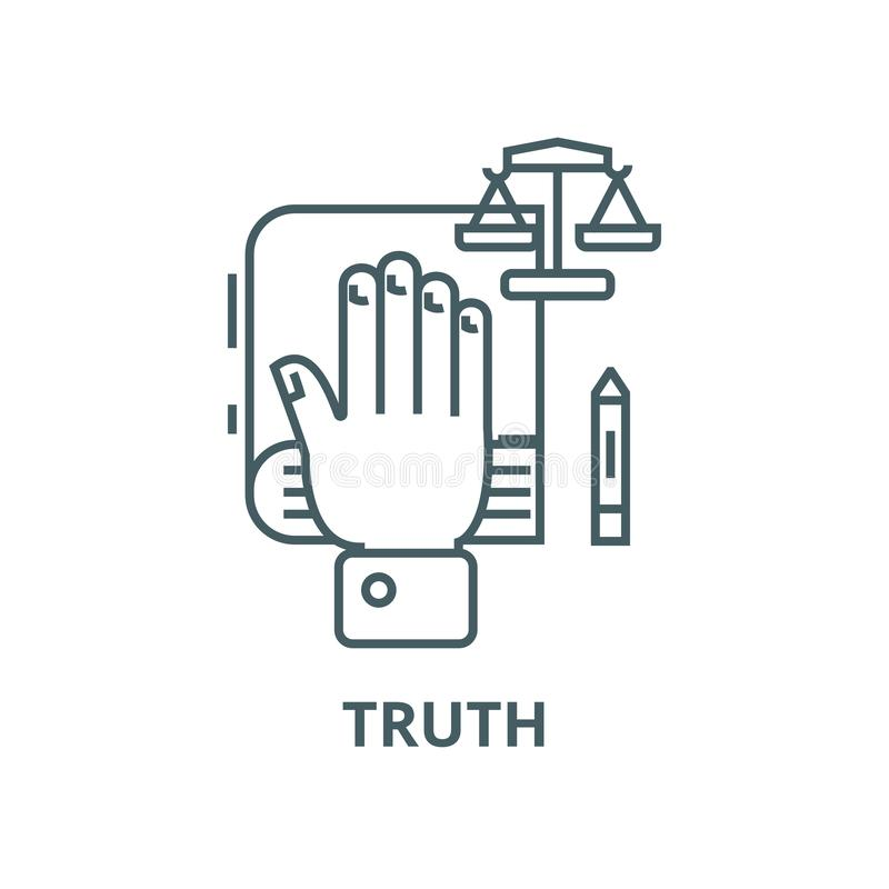 Truth concept,hand on  vector line icon, linear concept, outline sign, symbol. Truth concept,hand on  vector line icon, outline concept, linear sign vector illustration