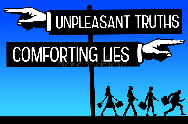 Truth and lies. People prefering comforting lies above unpleasant truths royalty free illustration