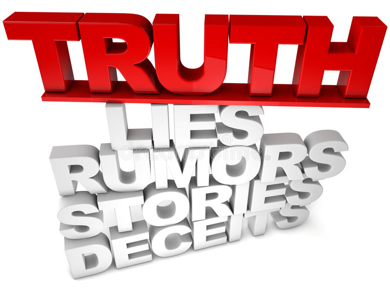Truth. Lies Rumors Stories Deceits stack over white background stock illustration
