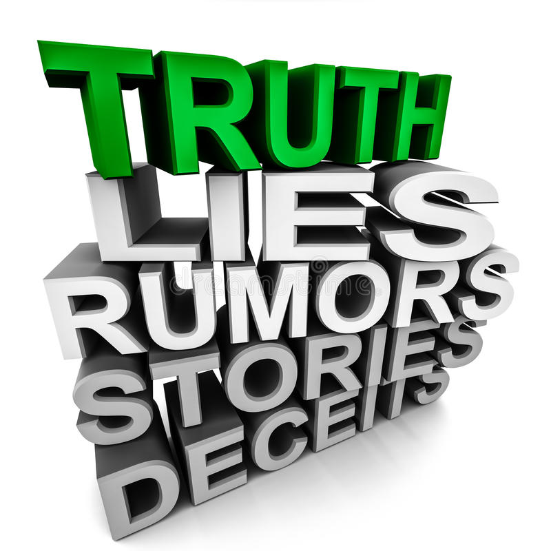 Truth over lies and rumors. Word truth in green over lies, rumors, stories and deceits in monochrome, concept of truth winning over lies stock illustration
