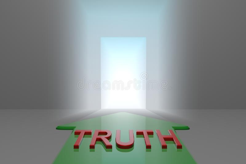 Truth to the open gate. Green arrow with truth word front of the open gate , 3d rendered stock illustration