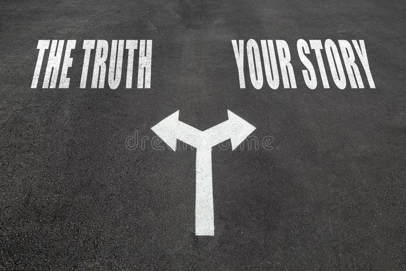 The truth vs your story choice concept royalty free stock images