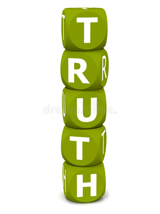 Truth. Word white background, purity concept made up of stacked toy blocks stock illustration