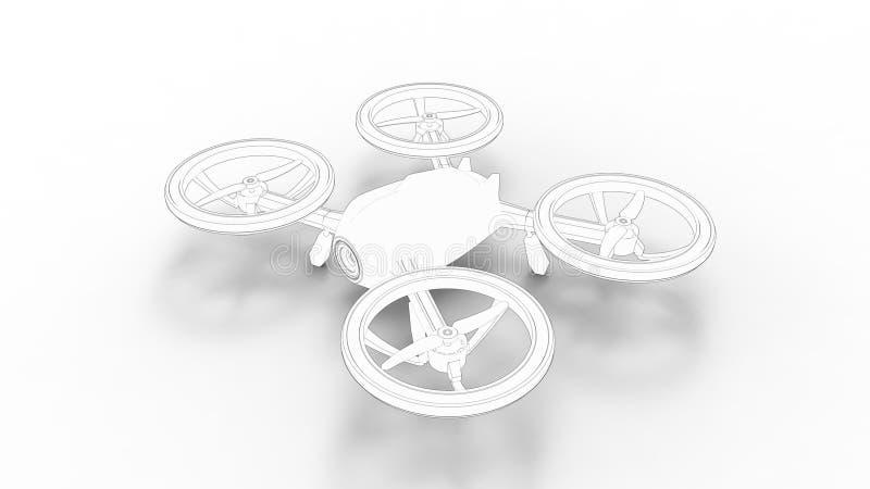 Trutnia 3d renderingu nakreślenie odizolowywający w białym pracownianym tle ilustracji