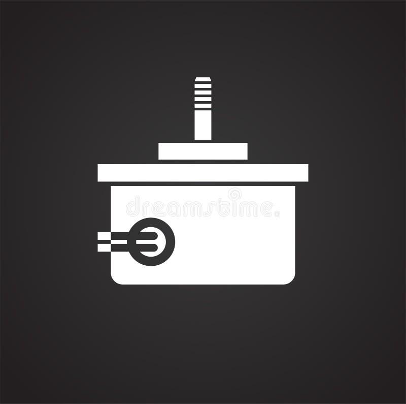 Trutnia elektrycznego silnika ikona na czarnym tle dla grafiki i sieci projekta, Nowożytny prosty wektoru znak kolor tła pojęcia, ilustracji
