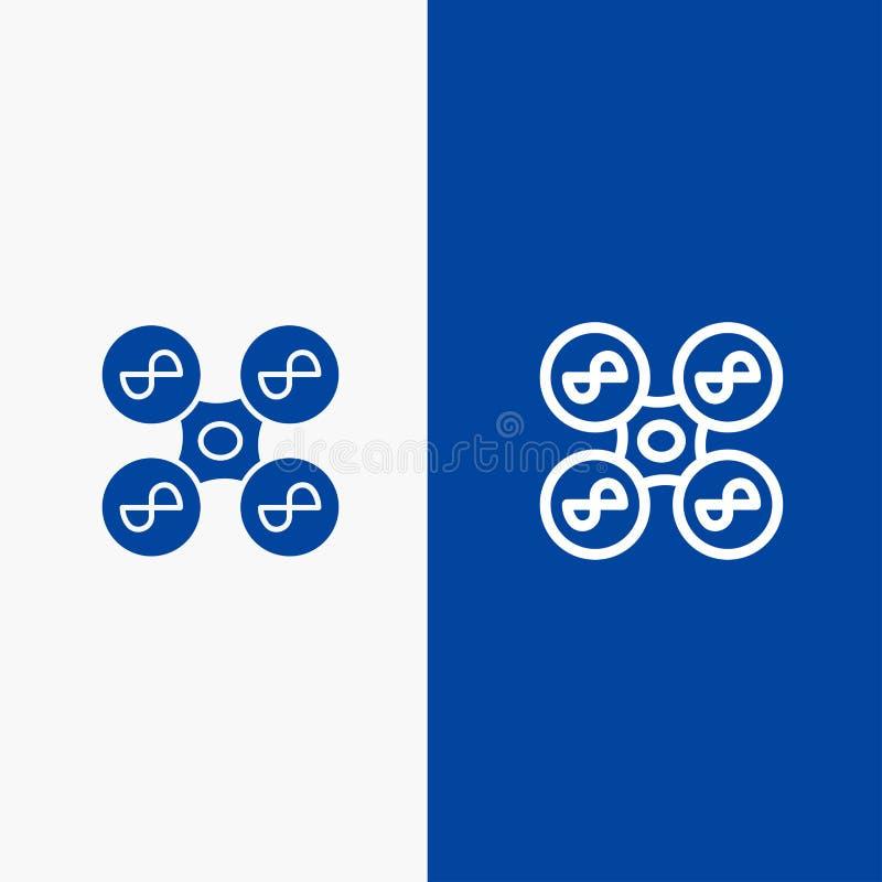 Trutnia, komarnicy, kwadrata copter, glifu, ikony sztandaru i linii Błękitnej ikony błękita Stały sztandar ilustracja wektor
