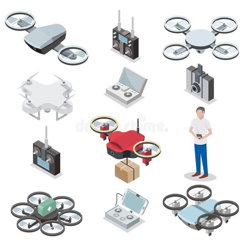 Trutnia quadcopter ikony wektorowy isometric set royalty ilustracja