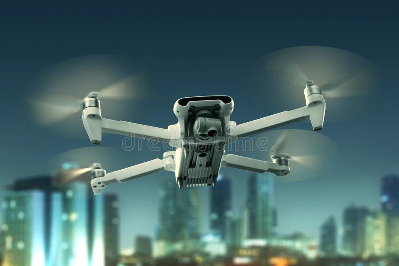 Trutnia quadcopter latanie nad miasto zdjęcie stock