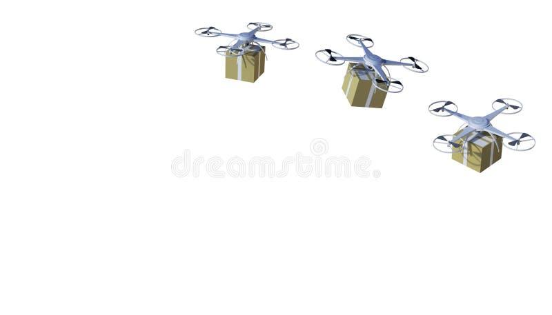 Trutnia quadcopter pakunki i odtransportowywający w zaawansowany technicznie, online zakupy logistyce na odosobnionym na białym t royalty ilustracja