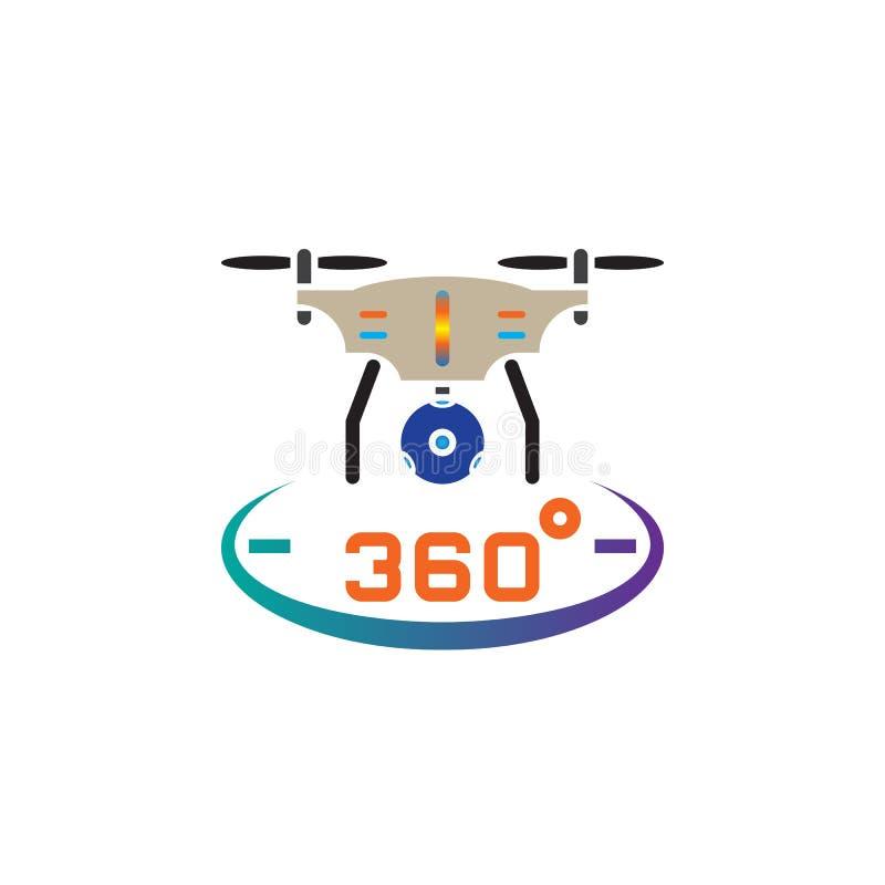 Trutnia quadrocopter z 360 stopni kamery ikony panoramicznym wektorem, stała logo ilustracja, piktogram odizolowywający na bielu ilustracji