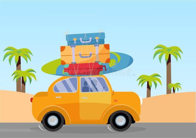 Trveling乘黄色汽车有堆的在屋顶的行李袋子和有在海滩的冲浪板的与棕榈 夏天旅游业,旅行,旅行 库存例证