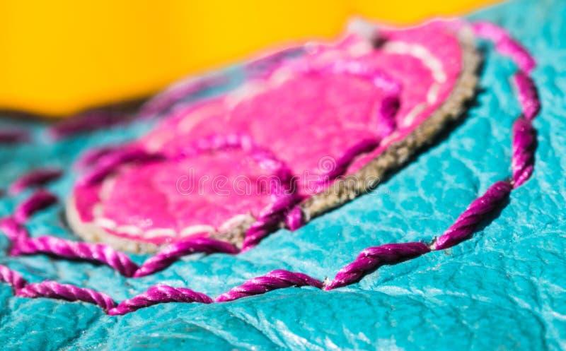 trwałość szwalnej nici rzemienny makro- szczegół fotografia stock