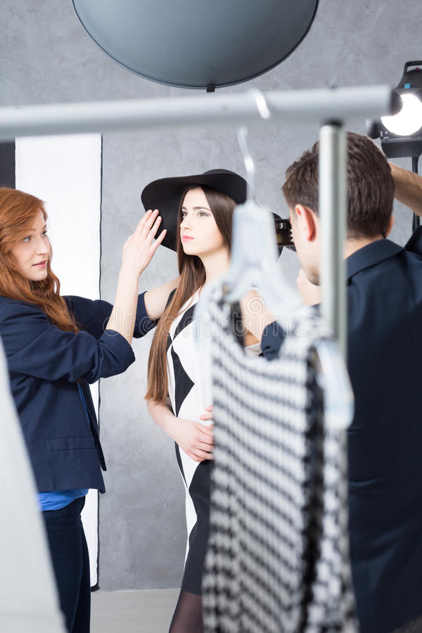 Trwająca produkcja mody fotografii sesja fotografia royalty free