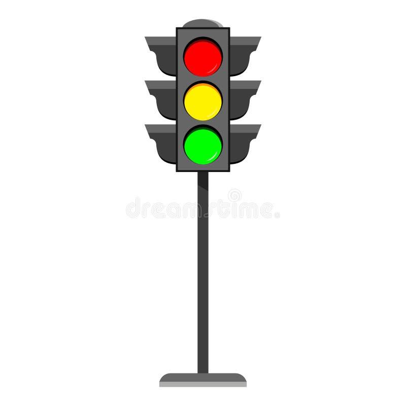 Trwanie światła ruchu projekta płaskiej ikony Typowe horyzontalne sygnalizacje drogowe z czerwienią, kolorem żółtym i zielonym św ilustracji