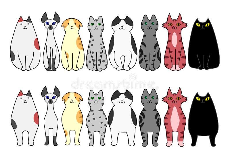 Trwanie i siedzący koty ilustracja wektor