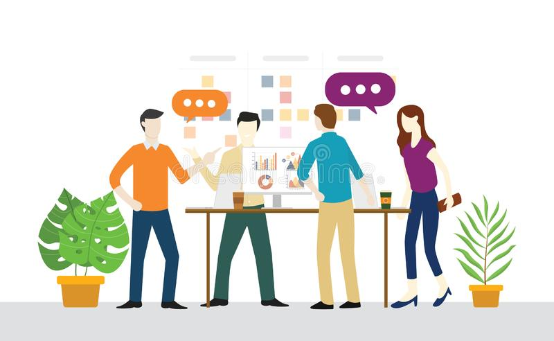 Trwaniego lub standup spotkania dzienny plan dla pracy zespołowej dla rozwoju ilustracji