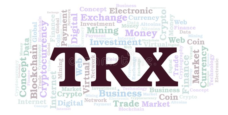 TRX或TRON cryptocurrency硬币词云彩 向量例证