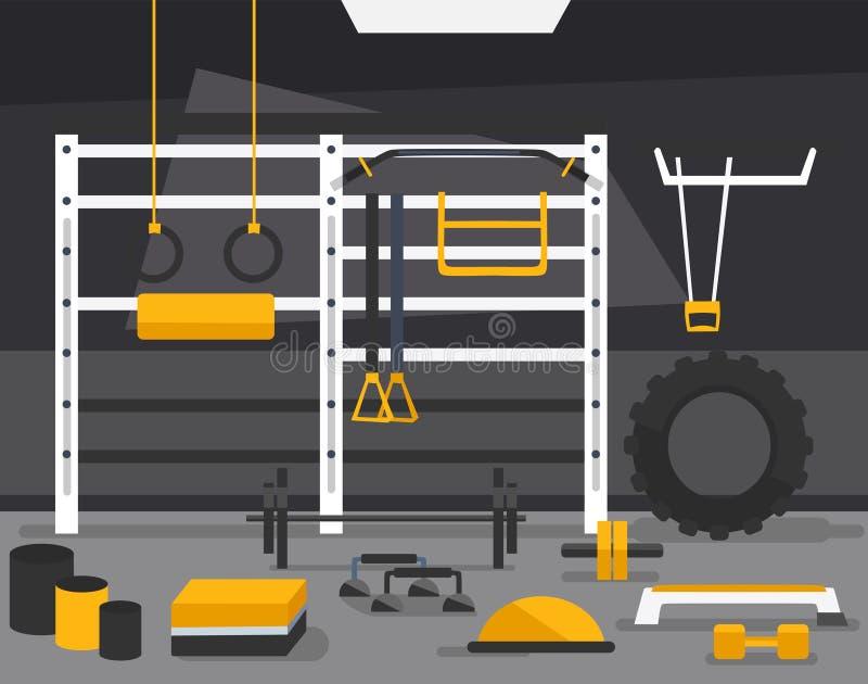 TRX i crossfit strefy pojęcie Gym sprawności fizycznej centrum wewnętrzny projekt w mieszkanie stylu z barbell, talerze, medycyny ilustracji