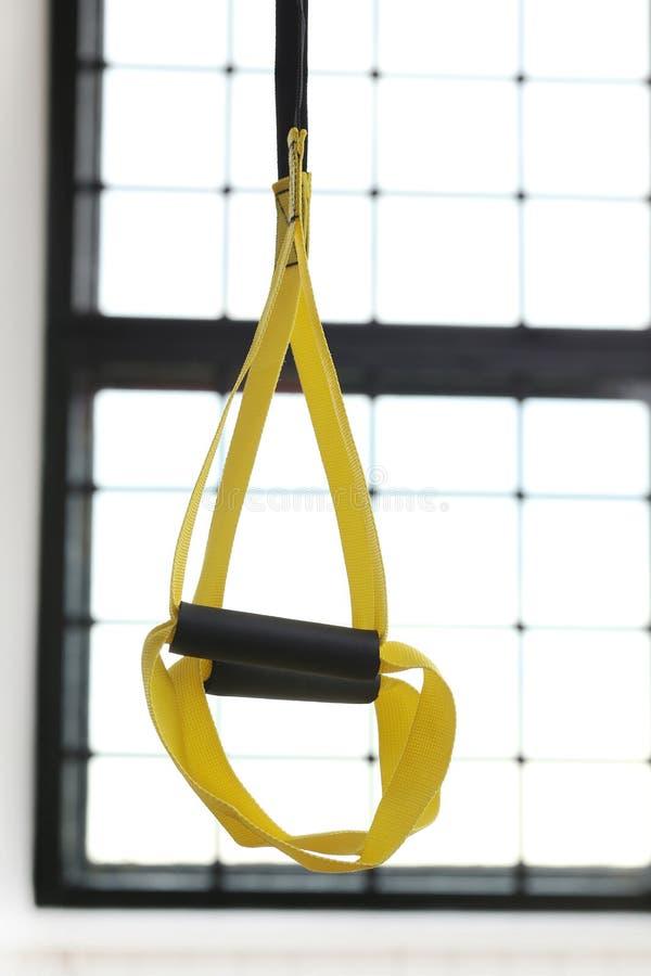 TRX strap. Sport, object. TRX strap in the gym stock photos