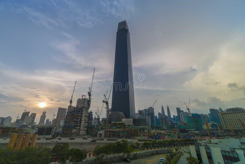 TRX Tun Razak Exchange o torre del intercambio 106 imagenes de archivo