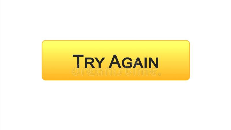 Try again web interface button orange color, internet site design, support. Stock footage royalty free illustration