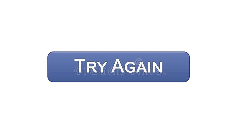 Try again web interface button violet color, internet site design, support. Stock footage stock illustration