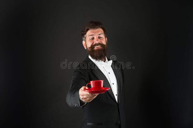 Try best coffee in your life. Man bearded hipster prepared coffee. Drinking coffee. Businessman enjoy coffee break stock photo