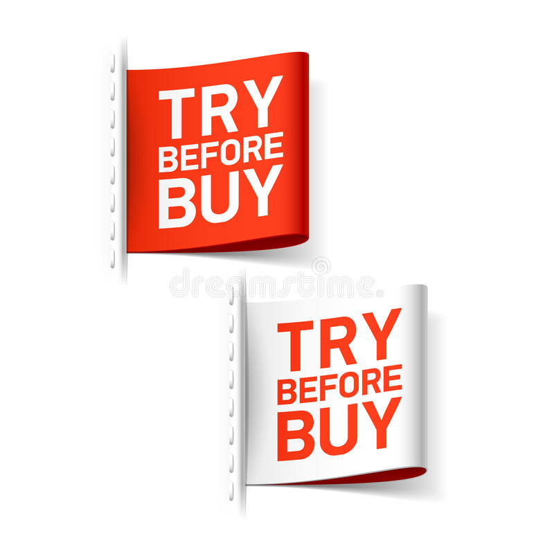 Try before buy label vector illustration