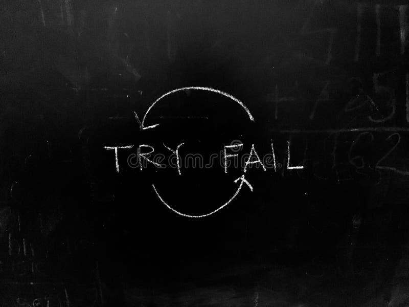 Try and Fail Iteration Рукописный на Blackboard stock photo стоковое изображение rf