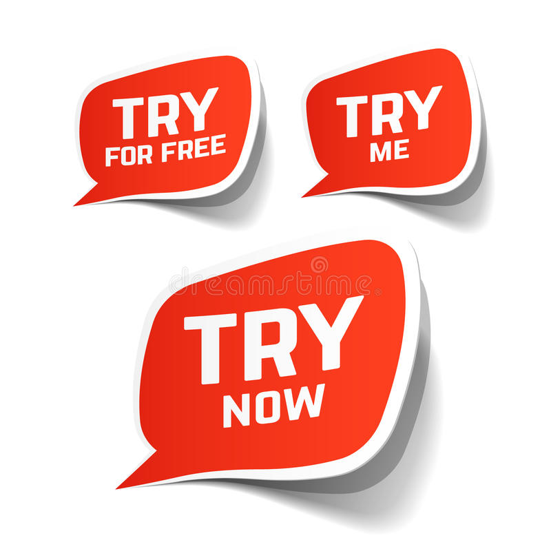 Try Now, Try For Free and Try Me speech bubbles royalty free illustration