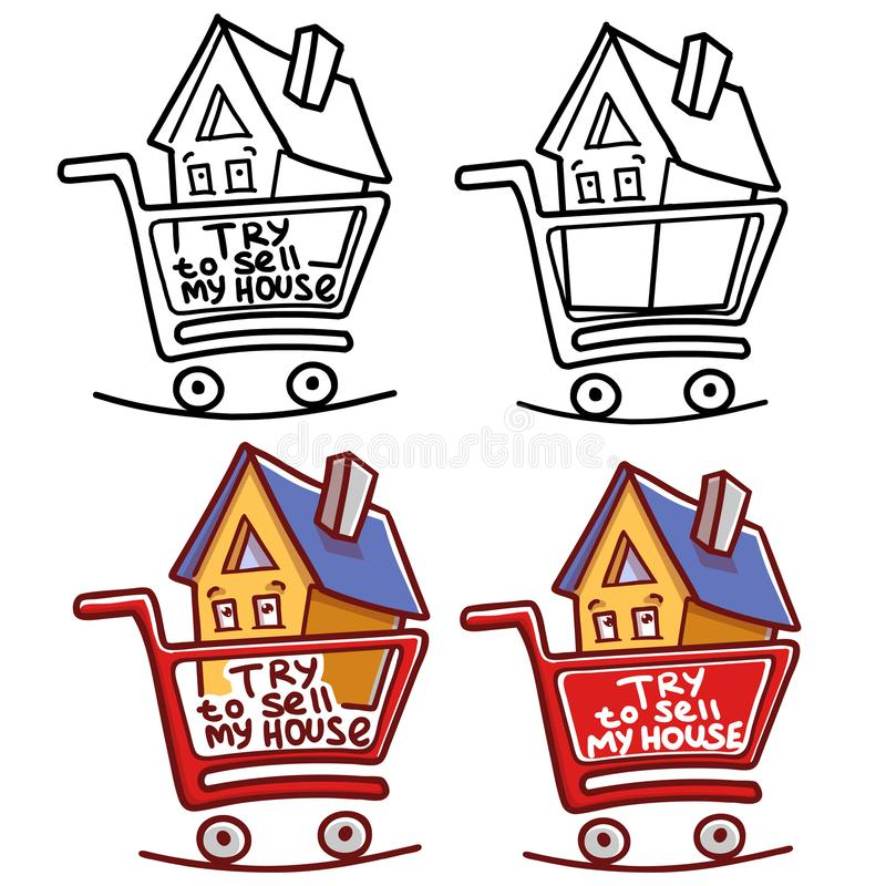 Try To Sell My House. Art set royalty free illustration