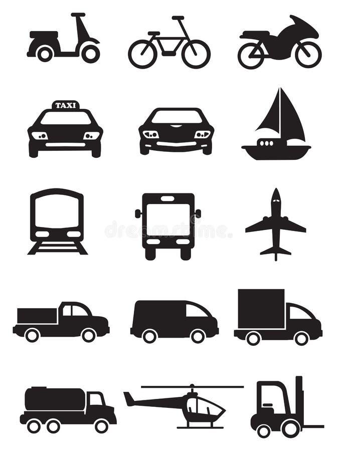 Tryb transport i pojazd ikony Wektorowy set royalty ilustracja