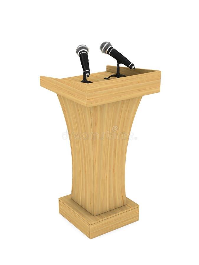 Trybuna z mikrofonem na białym tle Odosobniony 3d illustr ilustracji