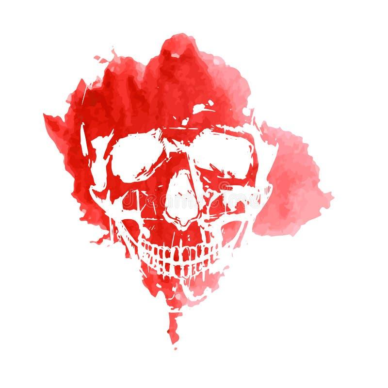 Tryck av en mänsklig skalle på en röd fläckvattenfärg royaltyfri illustrationer