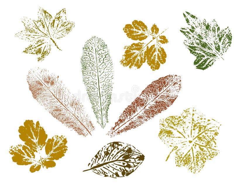 Tryck av gröna och bruna sidor som isoleras på vit bakgrund vektor stock illustrationer